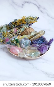Crystals Stones Set. healing gemstones minerals and floral cleansing bundles. relax Crystal Ritual, Esoteric life balance concept. spiritual practice. modern magic