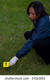 CSI places a numbered marker near evidence