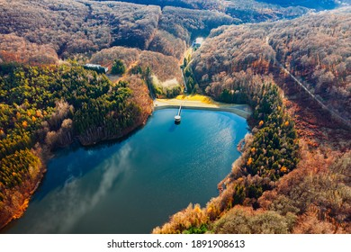 Csorreti reservoir in Matra mountains Hungary. This is highest reservoir  in Hungary. volume of 1,1 million cubic meters. 5 streams fill continuously