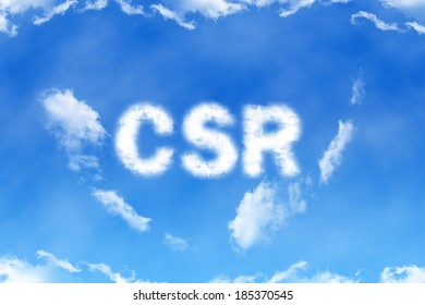 CSR cloud word on blue sky background