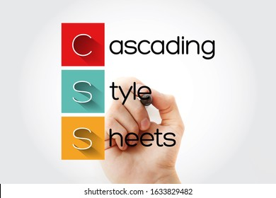 CSS - Cascading Style Sheets acronym with marker, technology concept background