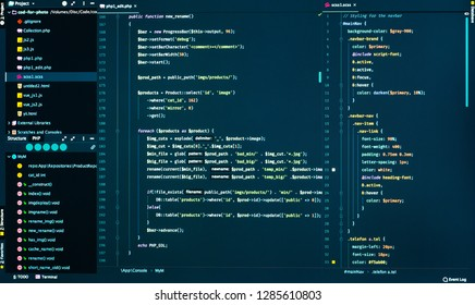 Css and php code on dark blue background in the code editor, close up. Splitting of php and css code, front view