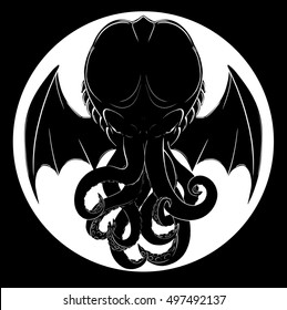Cthulhu floats in a white circle.