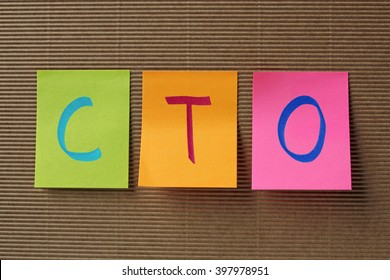 CTO (Chief Technology Officer) acronym on colorful sticky notes