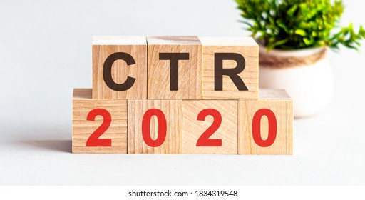CTR 2020 - click-through rate - word written on wood block. search engine optimization, Faqs text on table, concept.