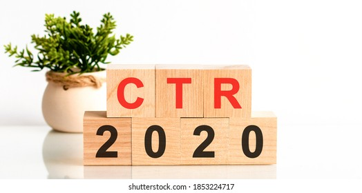 CTR 2020 word written on wood block. Faqs text on table, concept. search engine optimization, Faqs text on table, concept. Red letter CTR - click-through rate.