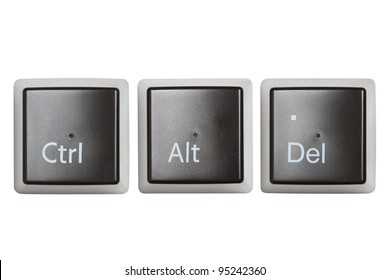 Ctrl, Alt, Del keyboard keys, top view  isolated on white