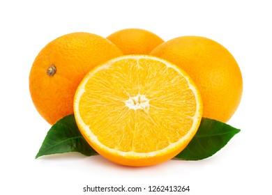 Ctrus fruit orange closeup isolated on white background