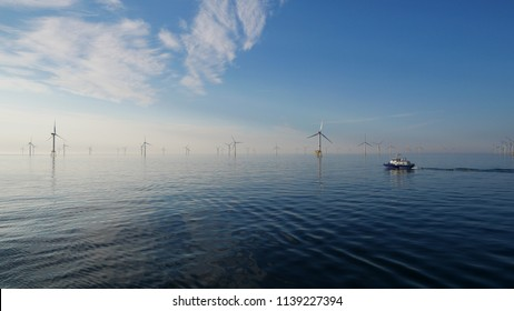 CTV in Offshore wind Farm on a very calm North Sea