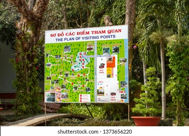 Cu Chi, Vietnam - March 10, 2019:  Map of Viet Cong Cu Chi Tunnels site on Saigon River, Vietnam.