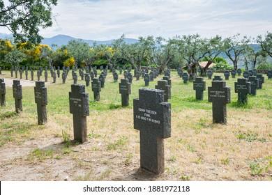 CUACOS DE YUSTE, SPAIN - JUNE 02, 2010: Graves of German soldiers killed in the two great wars. Cuacos de Yuste German Cemetery