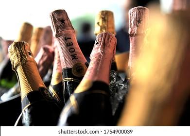 Cuajimalpa, Mexico City/Mexico; September 25, 2010 Serveral bottles of Moet & Chandon Champagne