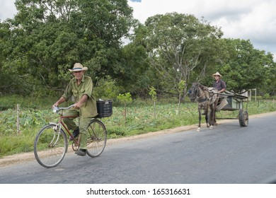 Cuba 19/05/2013: in the countryside is difficult to find cars on the streets. The main means of transportation are bikes and carriages with horses used by the people that works in the fields or plantations