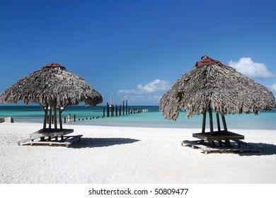 Cuba beach with summer house view in small island near varadero.