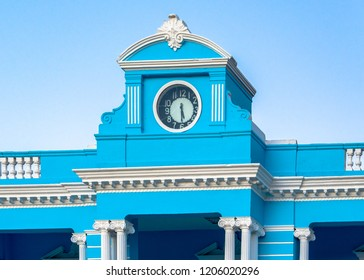 Cuba: Blue facade of the Las Tunas Provincial Museum. The top is decorated with an old clock. The building is a tourist attraction in the city.