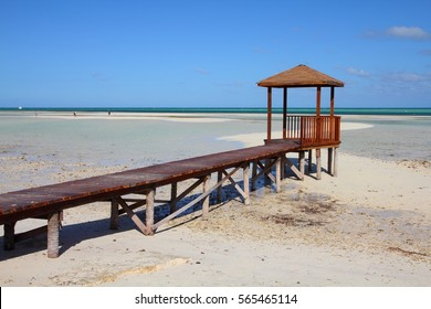 Cuba - Caribbean beach Cayo Guillermo. Sandy beach and seaside boardwalk. Jardines del Rey region.