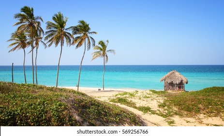 Cuba - Caribbean beach Playa Megano in Playas del Este part of Havana Province. Sandy coast.