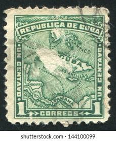 CUBA - CIRCA 1914: stamp printed by Cuba, shows Map of Cuba, circa 1914