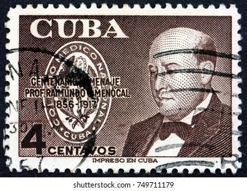 CUBA - CIRCA 1956: a stamp printed in the Cuba shows Raimundo G. Menocal, Physician, circa 1956