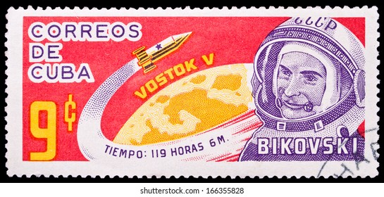 CUBA- CIRCA 1963: Cuba stamp dedicated to russian astronaut Bykovsky, circa 1963.