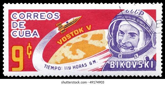 CUBA- CIRCA 1963: a stamp printed by CUBA  shows russian cosmonaut Valery Bykovsky , circa 1963
