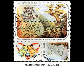 "CUBA - CIRCA 1964: A block of six stamps printed in Cuba shows the bird life with the inscription ""Eusmilia, Acropora, ... "" from the series ""Corals, distress, starfish, sea urchins"", circa 1964"