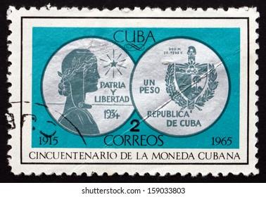 CUBA - CIRCA 1965: a stamp printed in the Cuba shows Coin, 50th Anniversary of Cuban Mint, circa 1965