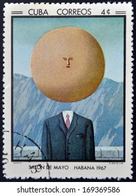 CUBA - CIRCA 1968: Stamp printed in Cuba commemorative to May Salon, 1967, shows  The Art of Living by R. Magritte, circa 1968