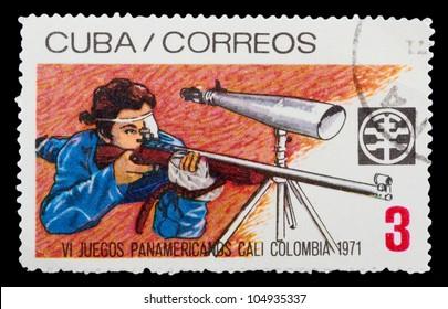CUBA - CIRCA 1971: A Stamp printed in Cuba shows Shooting, circa 1971