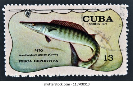 CUBA - CIRCA 1971: A stamp printed in Cuba dedicated to sport fishing, shows wahoo, Acanthocybium solandri, circa 1971