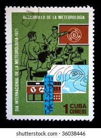 CUBA - CIRCA 1971: A stamp printed in Cuba devoted Meteorologia researches, circa 1971