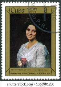 """CUBA - CIRCA 1974: A stamp printed in Cuba, shown the painting """"Young Woman"""", by artist Armando Menocal, circa 1974"""