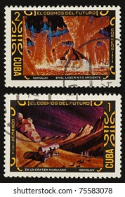 "CUBA - CIRCA 1974 : stamp printed in Cuba shows a painting by the artist Sokolov ""Explorations alien planet"" and ""Crater In Mars"", circa 1974"