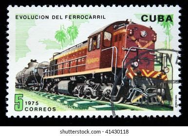 CUBA - CIRCA 1975: A stamp printed in Cuba shows vintage train, circa 1975