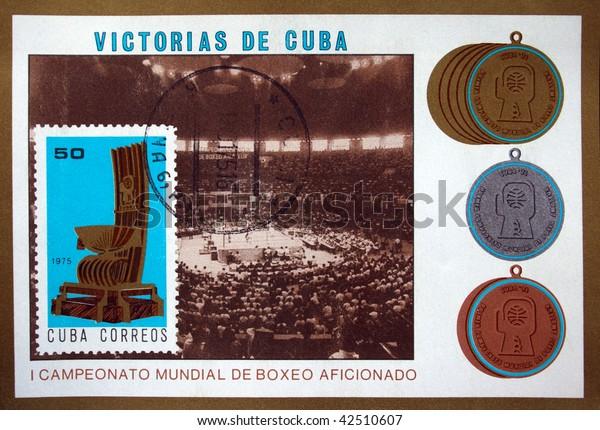 CUBA - CIRCA 1975: A stamp printed in Cuba shows Cuba's boxing championship, circa 1975