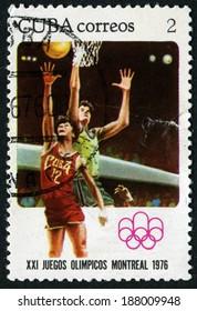 CUBA - CIRCA 1976: stamp printed by Cuba, shows Basketball, circa 1976
