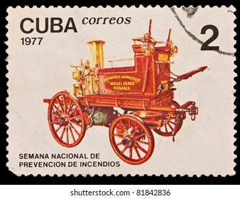 CUBA - CIRCA 1977: A stamp printed in the CUBA, image old car, Semana Nacional de prevencion de incendios, circa 1977
