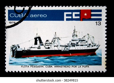 CUBA  - CIRCA 1978: A stamp printed by Cuba shows an ship trawler for the poop, stamp from series devoted fishing fleet of Cuba, circa 1978.