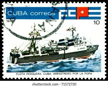CUBA - CIRCA 1978: a stamp printed by  Cuba  shows  Inshore  stern trawler, series, circa 1978