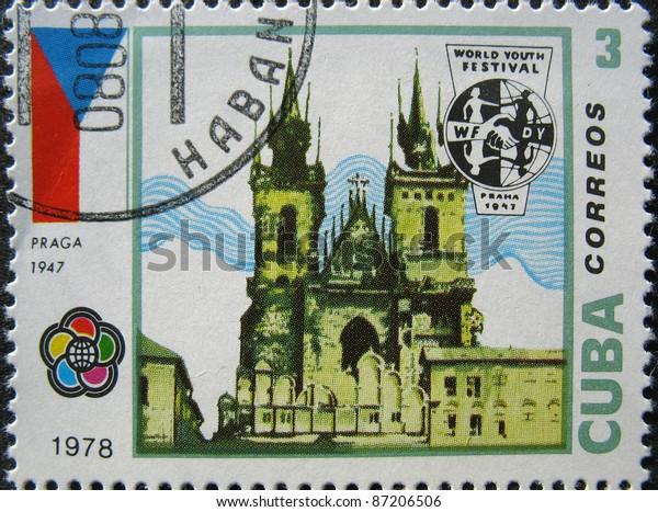 CUBA - CIRCA 1978: A stamp printed in Cuba shows image of the Building in Praga circa 1978.