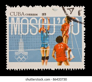 CUBA - CIRCA 1979: A stamp printed in the CUBA, shows XXII JUEGOS OLIMPIOCOS MOSCU 80,  circa 1979