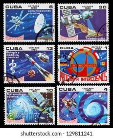 CUBA - CIRCA 1980: A set of postage stamps printed in CUBA shows cosmos, series, circa 1980