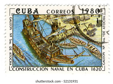 CUBA - CIRCA 1980: A stamp printed in Cuba shows image of the construction of a wooden sailboat, circa 1980.
