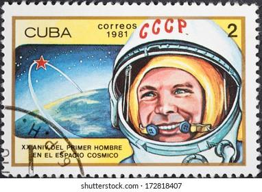 CUBA - CIRCA 1981: A postage stamp printed in the Cuba shows first astronaut Yuri Gagarin, circa 1981