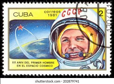 CUBA - CIRCA 1981: a stamp printed in Cuba, shows a portrait of the first cosmonaut Yuri Gagarin, CIRCA 1981