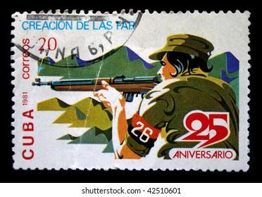 CUBA - CIRCA 1981: A stamp printed in Cuba shows shotter, circa 1981