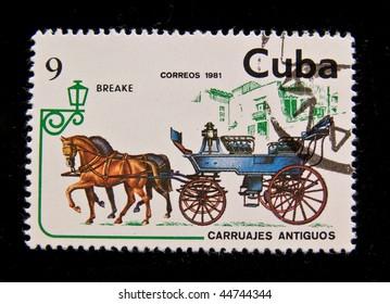 "CUBA - CIRCA 1981: A stamp printed by Cuba shows antique horse-drawn wagon ""Breake"", circa 1981. Series."