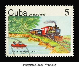 CUBA - CIRCA 1982: A stamp printed in Cuba showing locomotive circa 1982