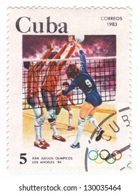 CUBA - CIRCA 1983: A stamp printed in CUBA shows volleyball, series Olympic Games Los Angeles 1984, circa 1983