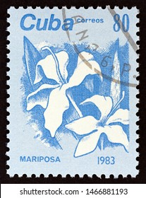"""CUBA - CIRCA 1983: A stamp printed in Cuba from the """"Flowers"""" issue shows Butterfly Jasmine (Mariposa), circa 1983."""